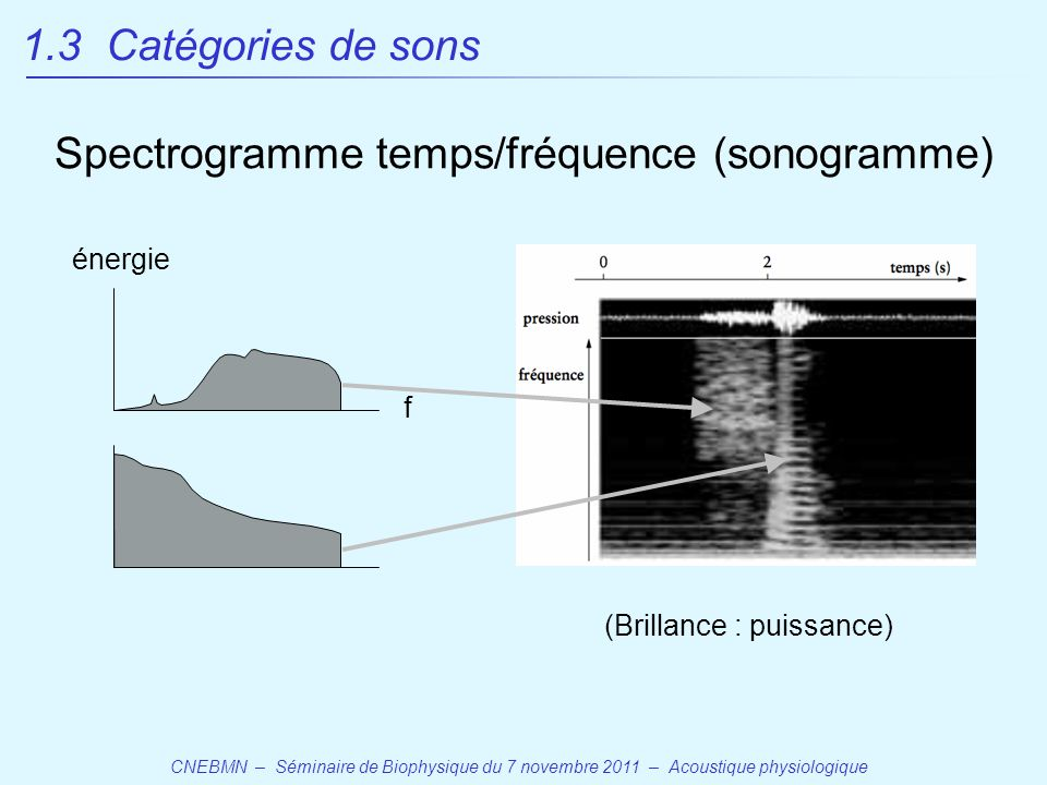 Spectrogramme temps/fréquence (sonogramme)