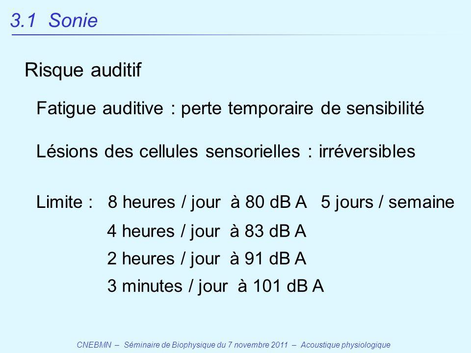 3.1 Sonie Risque auditif. Fatigue auditive : perte temporaire de sensibilité. Lésions des cellules sensorielles : irréversibles.
