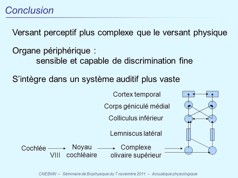 Conclusion Versant perceptif plus complexe que le versant physique