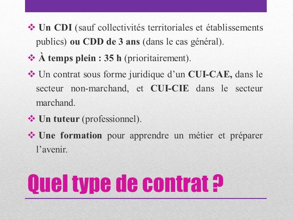 Un CDI (sauf collectivités territoriales et établissements publics) ou CDD de 3 ans (dans le cas général).