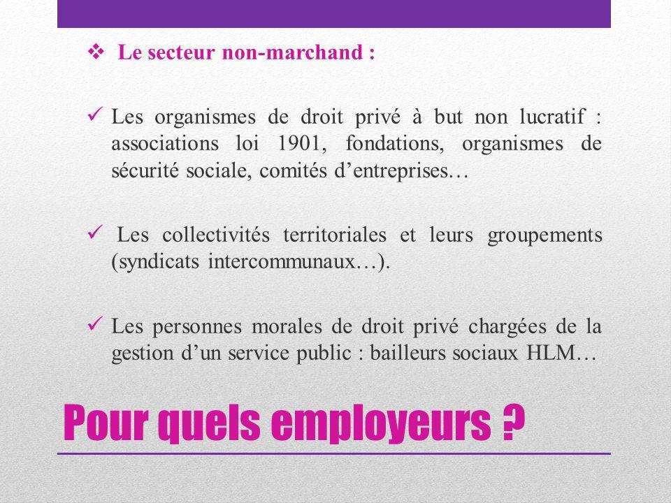 Pour quels employeurs Le secteur non-marchand :