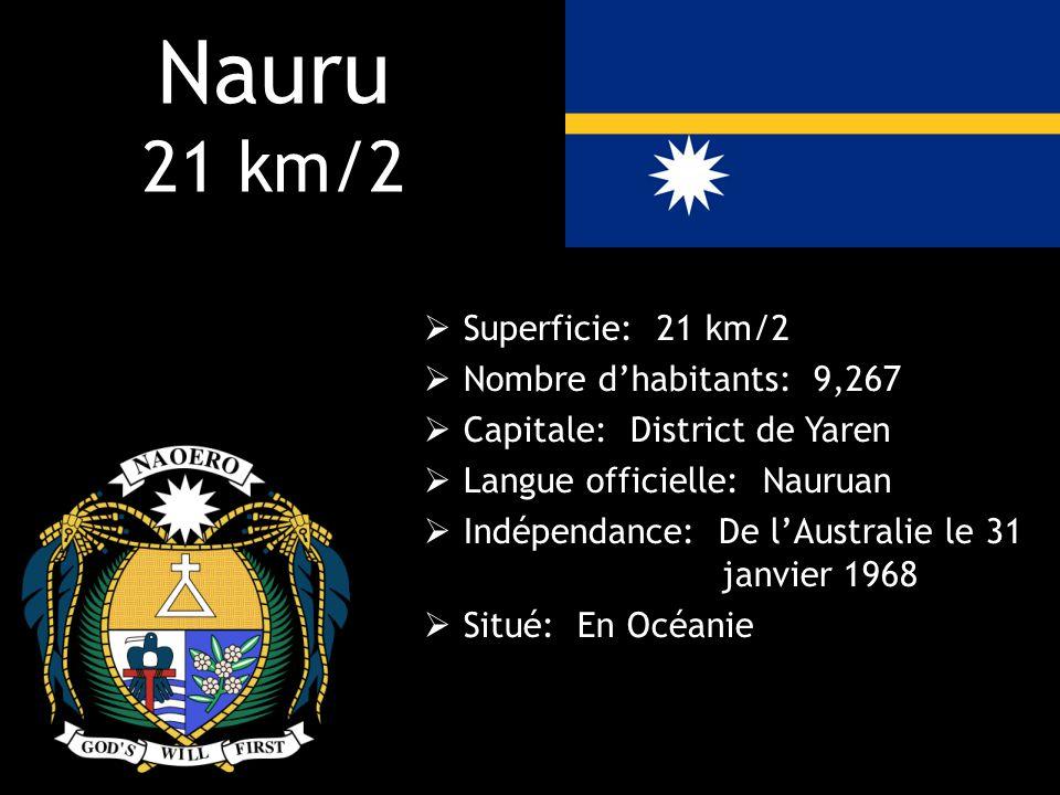 Nauru 21 km/2 Superficie: 21 km/2 Nombre d'habitants: 9,267