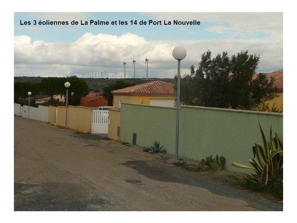 Les 3 éoliennes de La Palme et les 14 de Port La Nouvelle