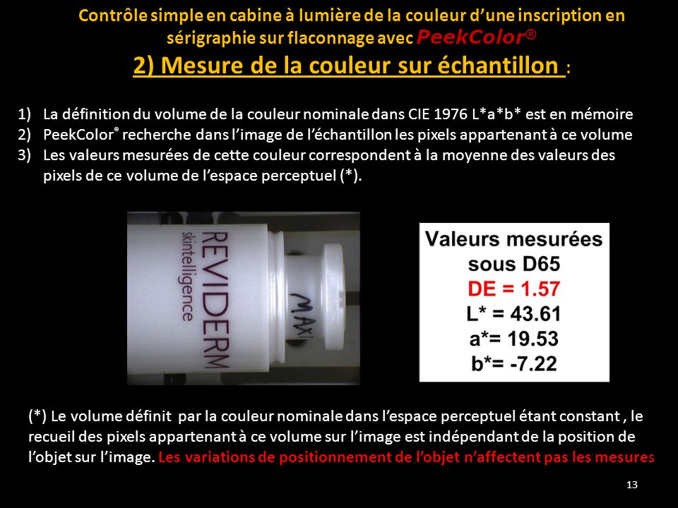 2) Mesure de la couleur sur échantillon :