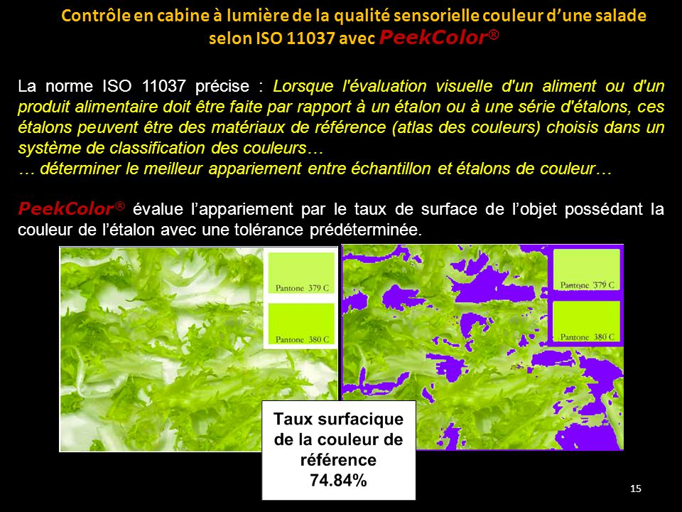 Contrôle en cabine à lumière de la qualité sensorielle couleur d'une salade selon ISO 11037 avec PeekColor®