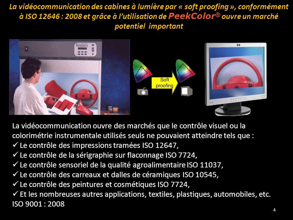 La vidéocommunication des cabines à lumière par « soft proofing », conformément à ISO 12646 : 2008 et grâce à l'utilisation de PeekColor® ouvre un marché potentiel important