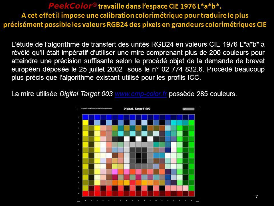 PeekColor® travaille dans l'espace CIE 1976 L*a*b*.