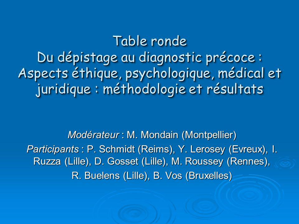 Table ronde Du dépistage au diagnostic précoce : Aspects éthique, psychologique, médical et juridique : méthodologie et résultats