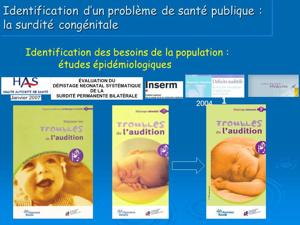 Identification d'un problème de santé publique : la surdité congénitale