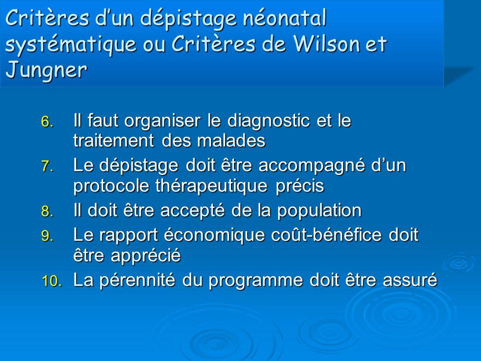 Critères d'un dépistage néonatal systématique ou Critères de Wilson et Jungner