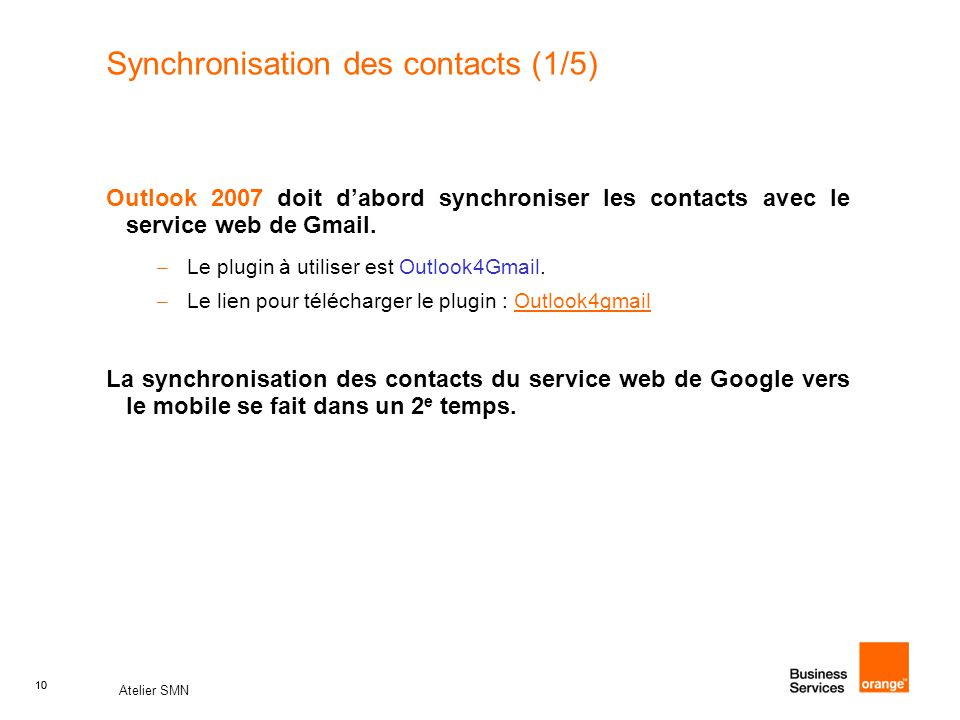 Synchronisation des contacts (1/5)