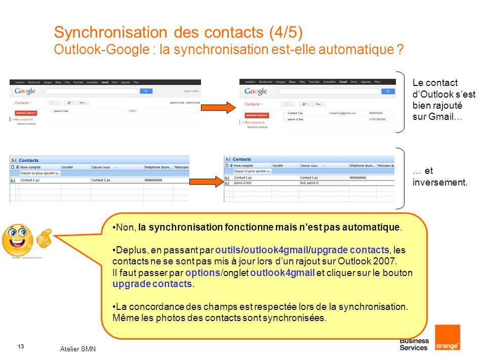 Synchronisation des contacts (4/5) Outlook-Google : la synchronisation est-elle automatique
