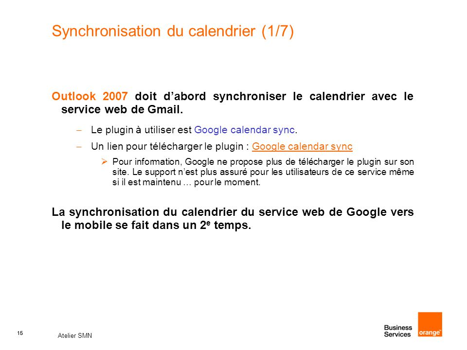 Synchronisation du calendrier (1/7)