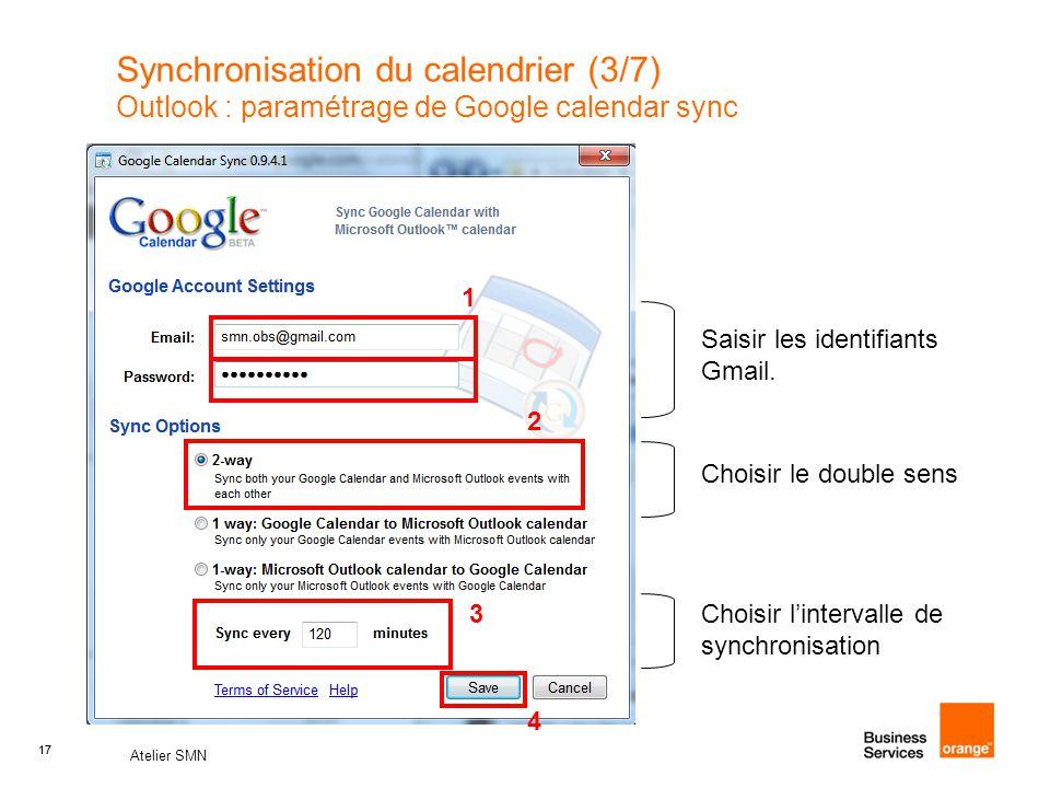 Synchronisation du calendrier (3/7) Outlook : paramétrage de Google calendar sync
