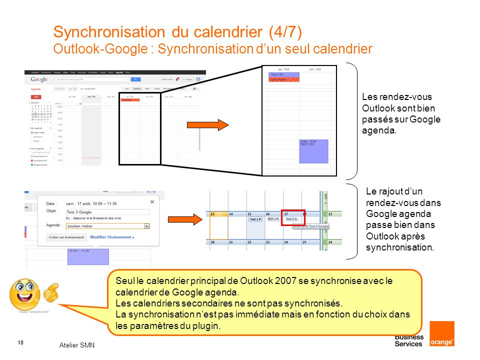 Synchronisation du calendrier (4/7) Outlook-Google : Synchronisation d'un seul calendrier