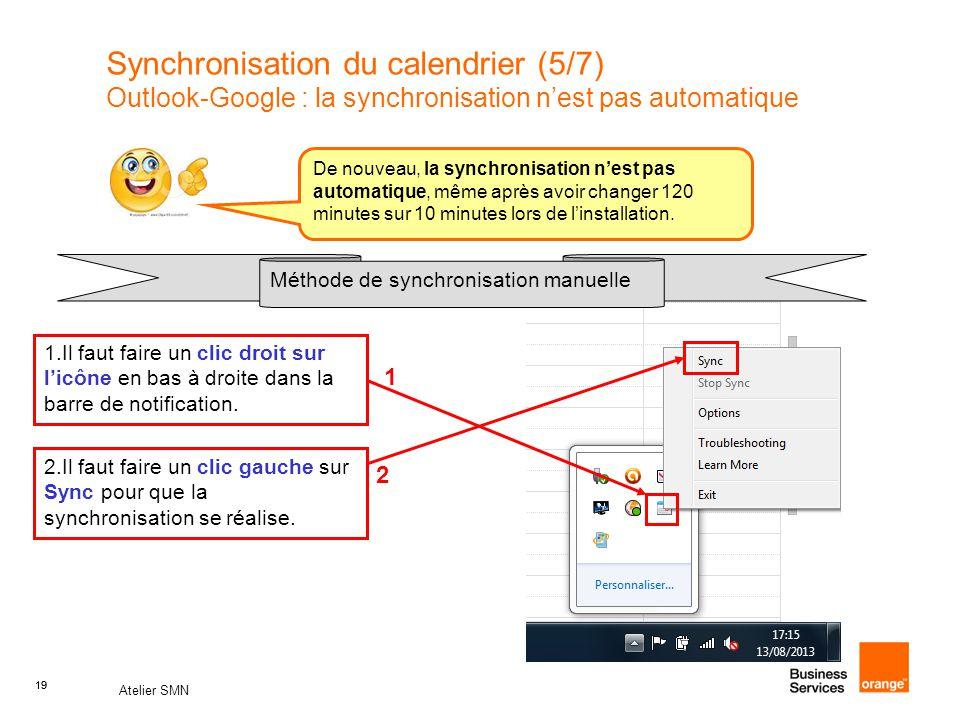 Synchronisation du calendrier (5/7) Outlook-Google : la synchronisation n'est pas automatique