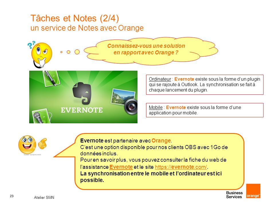 Tâches et Notes (2/4) un service de Notes avec Orange