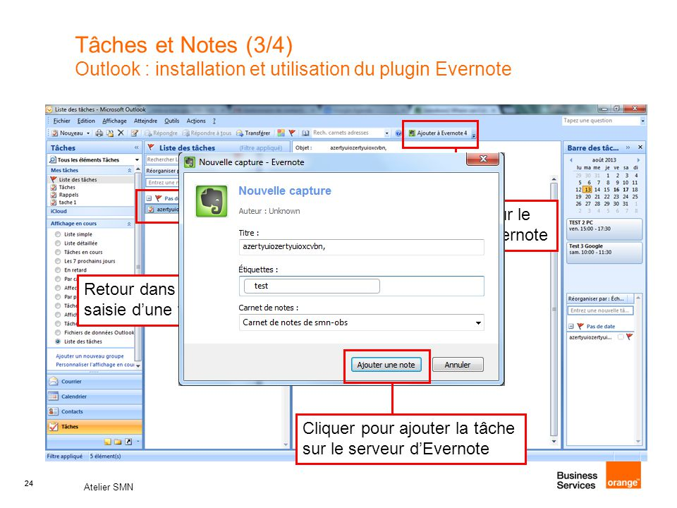 Tâches et Notes (3/4) Outlook : installation et utilisation du plugin Evernote