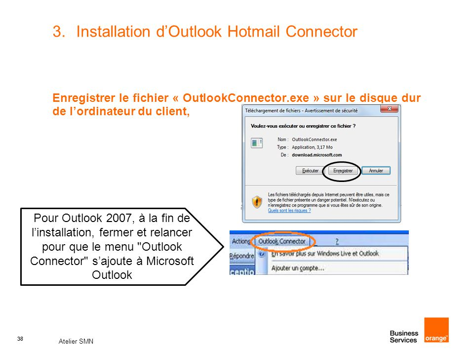 Installation d'Outlook Hotmail Connector