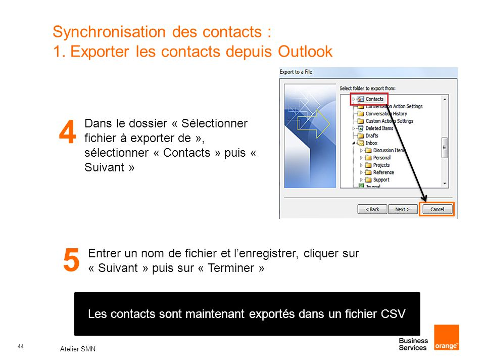 Synchronisation des contacts : 1. Exporter les contacts depuis Outlook