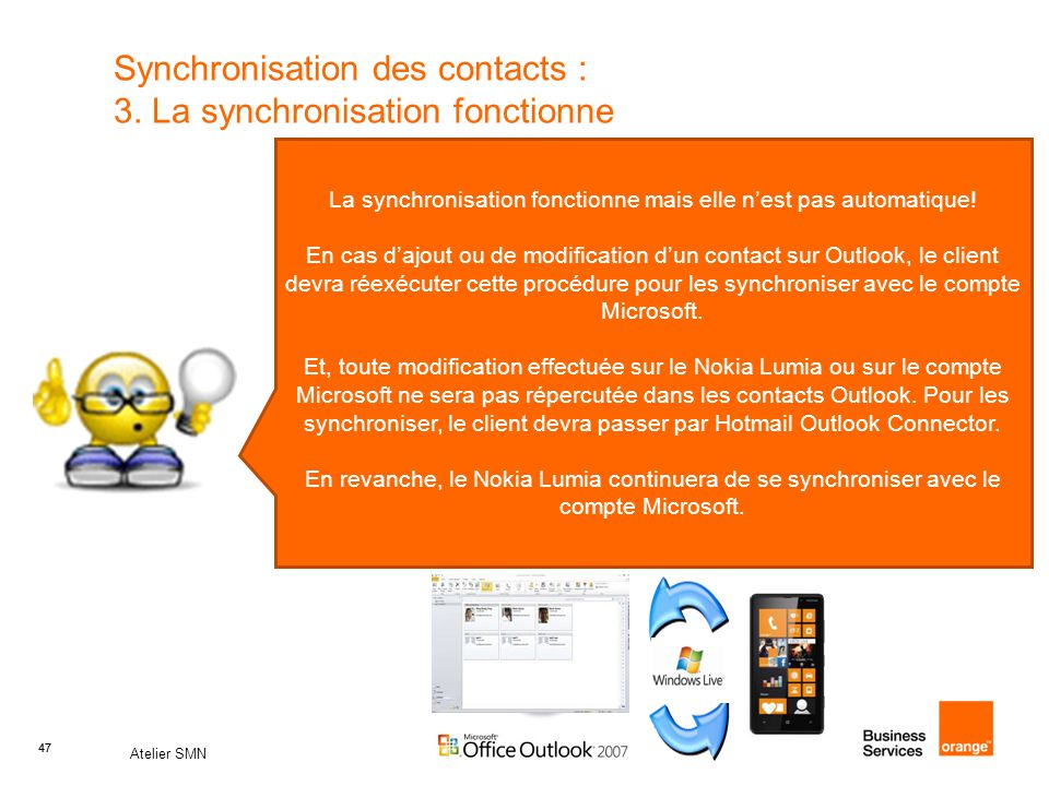Synchronisation des contacts : 3. La synchronisation fonctionne