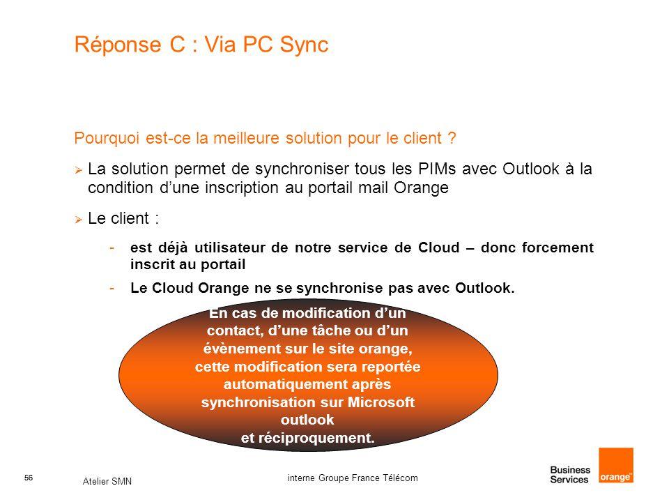 Réponse C : Via PC Sync Pourquoi est-ce la meilleure solution pour le client