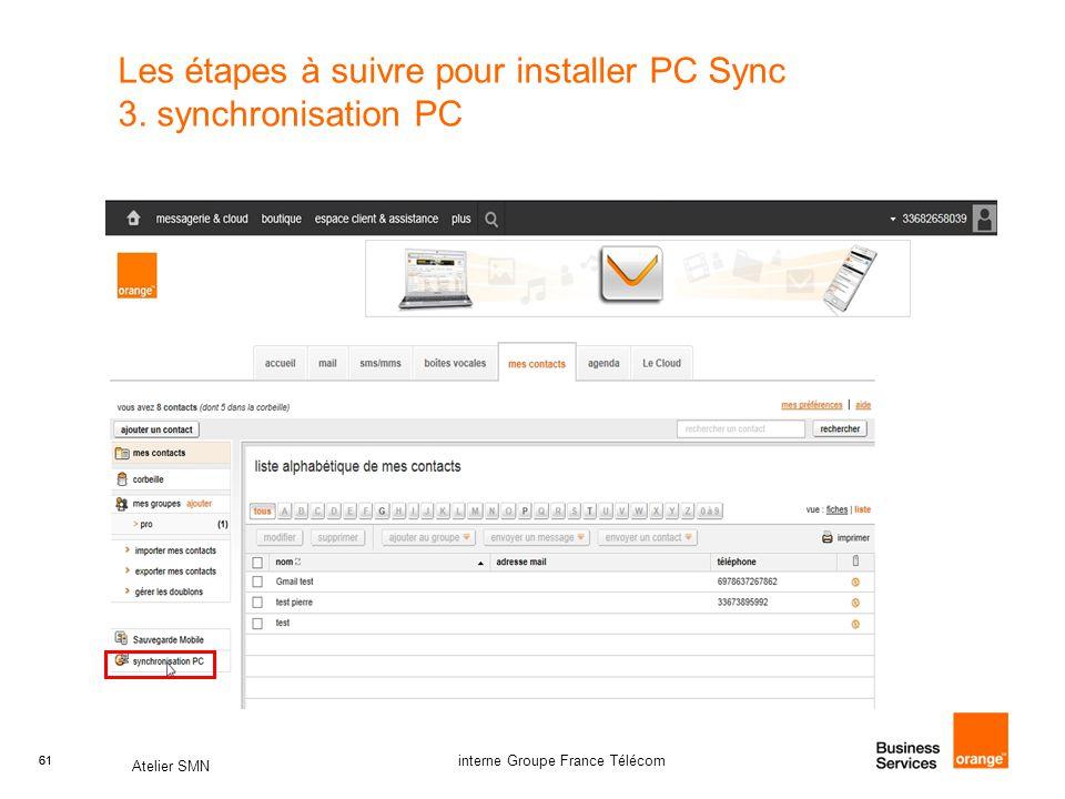 Les étapes à suivre pour installer PC Sync 3. synchronisation PC