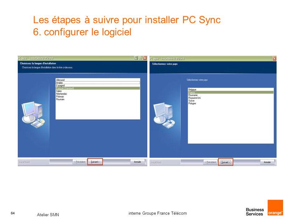 Les étapes à suivre pour installer PC Sync 6. configurer le logiciel