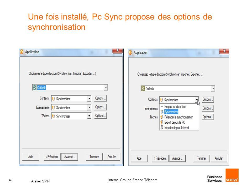 Une fois installé, Pc Sync propose des options de synchronisation
