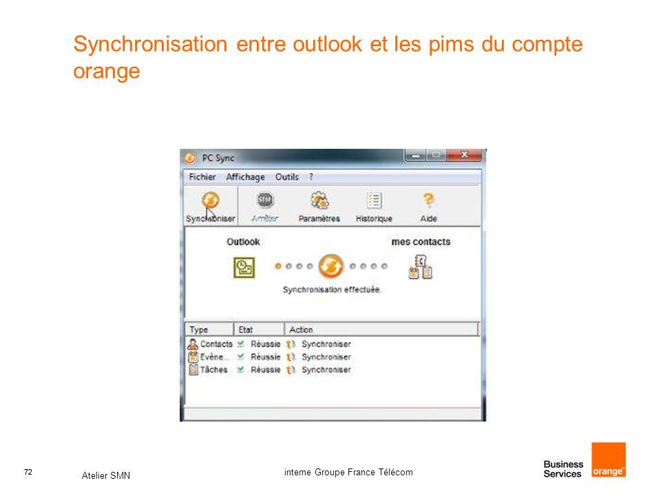 Synchronisation entre outlook et les pims du compte orange