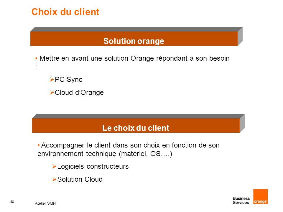 Choix du client Solution orange Le choix du client