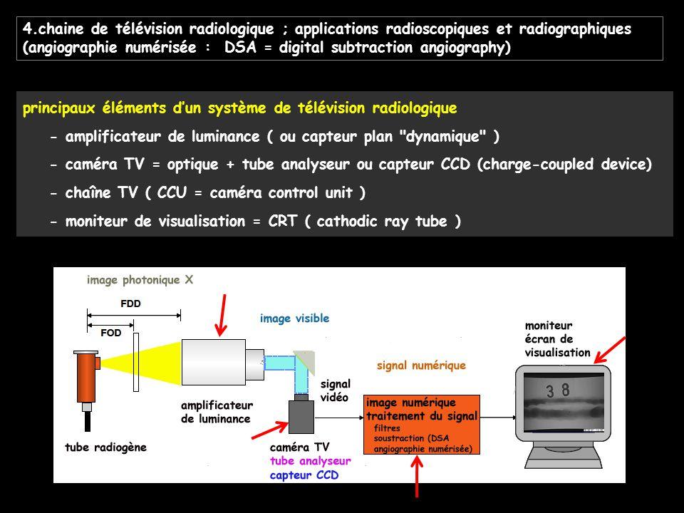 4.chaine de télévision radiologique ; applications radioscopiques et radiographiques (angiographie numérisée : DSA = digital subtraction angiography)
