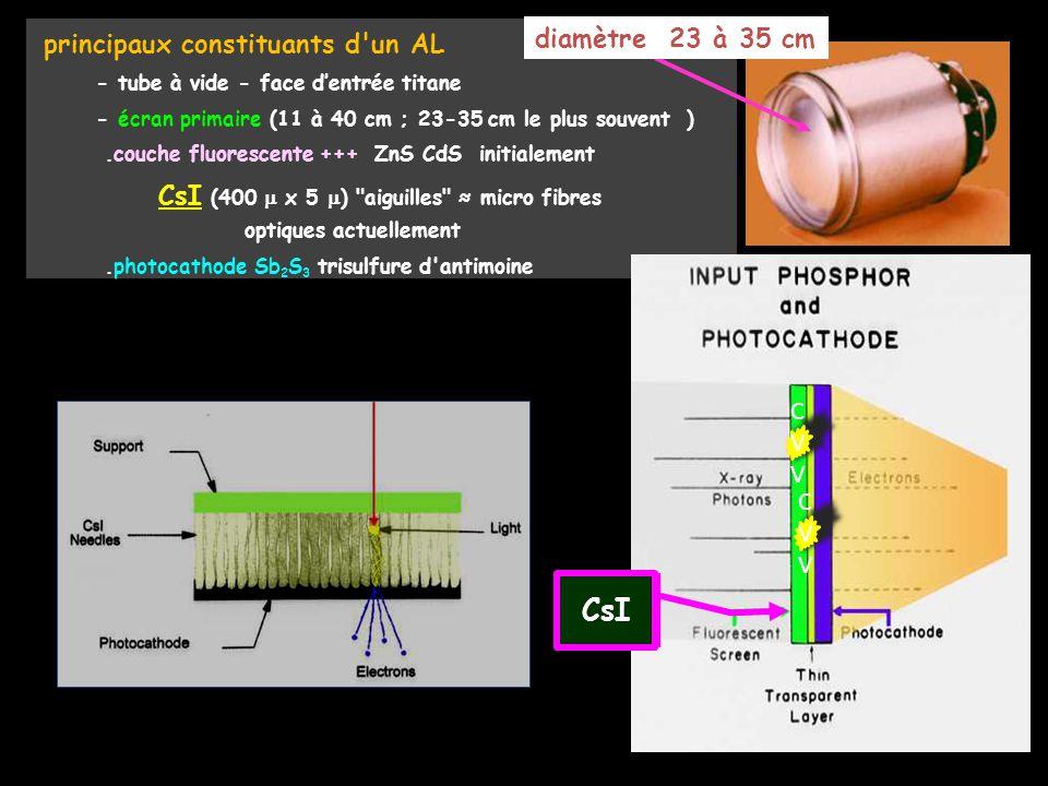 CsI diamètre 23 à 35 cm CVV CVV principaux constituants d un AL