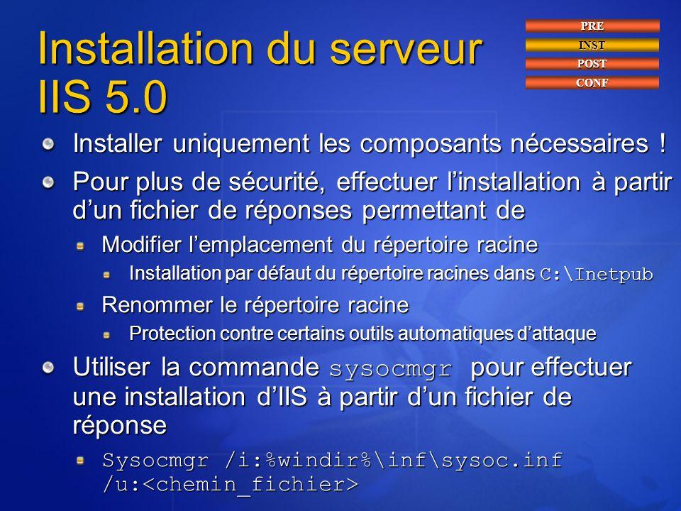 Installation du serveur IIS 5.0