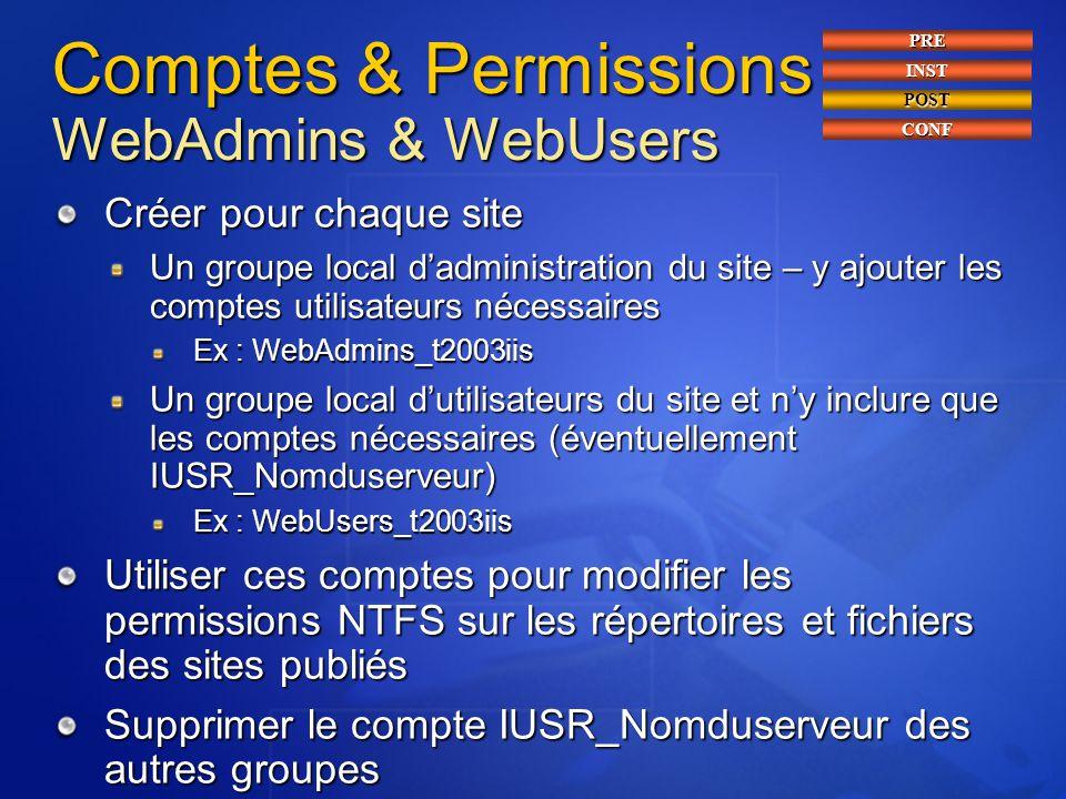 Comptes & Permissions WebAdmins & WebUsers