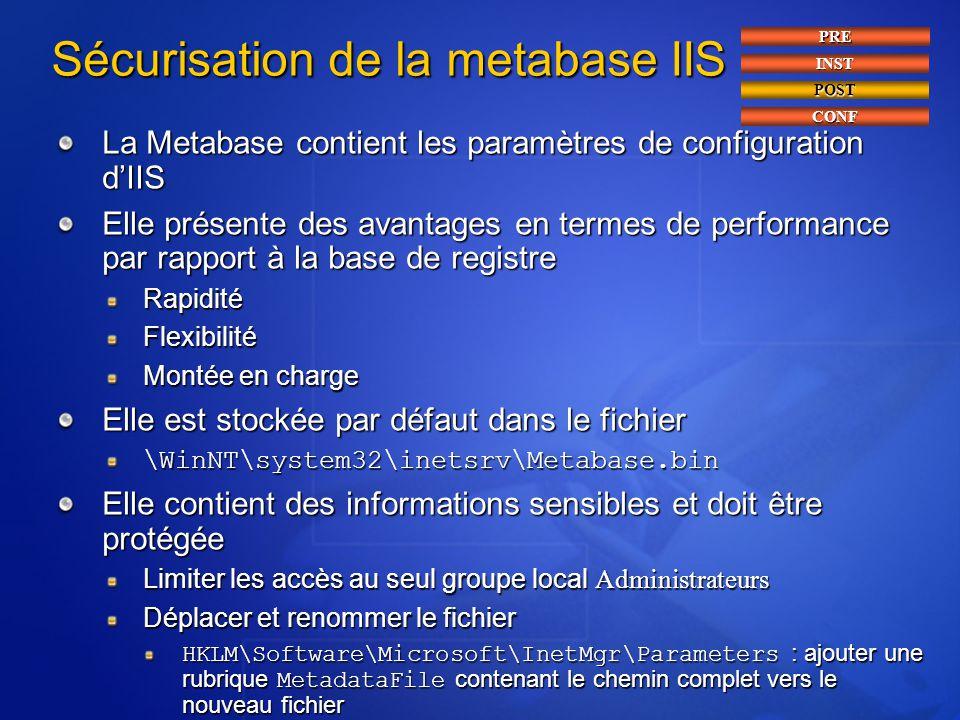 Sécurisation de la metabase IIS