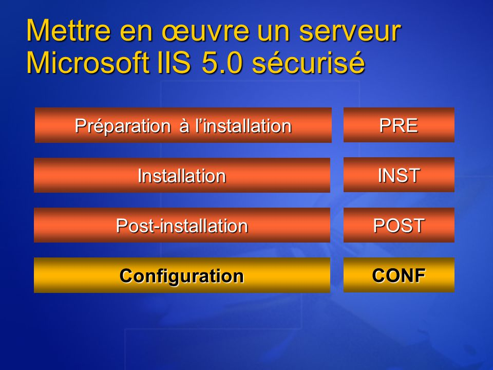 Mettre en œuvre un serveur Microsoft IIS 5.0 sécurisé