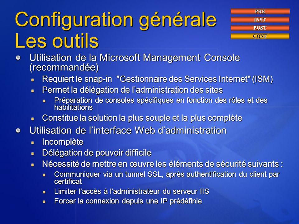 Configuration générale Les outils