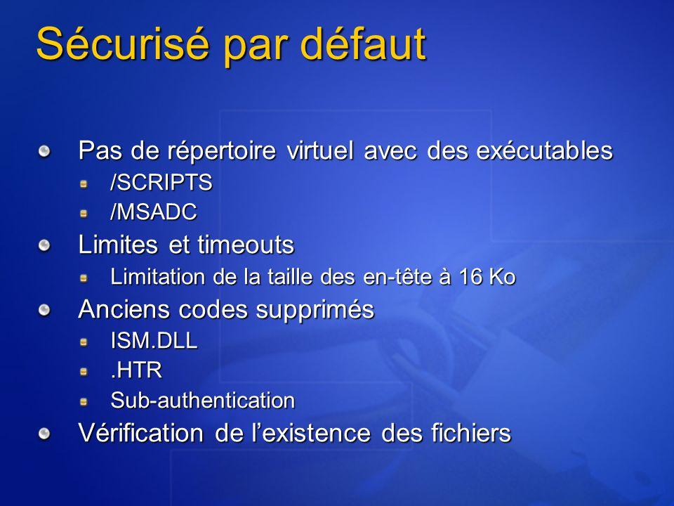 Sécurisé par défaut Pas de répertoire virtuel avec des exécutables