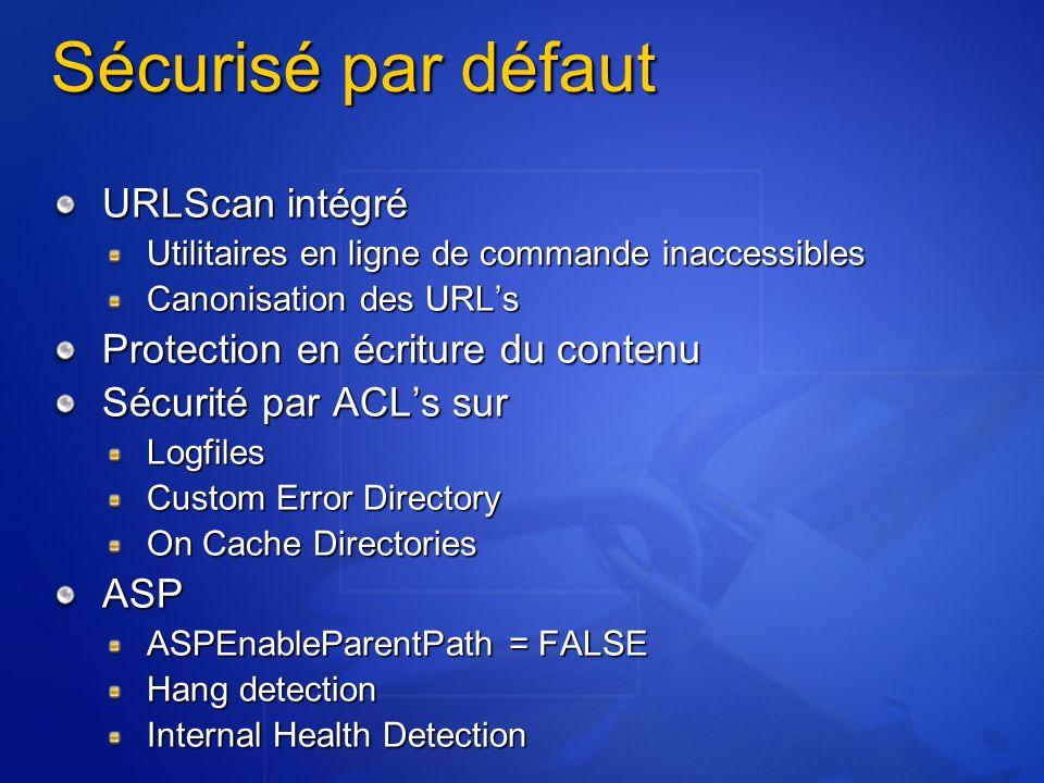 Sécurisé par défaut URLScan intégré Protection en écriture du contenu