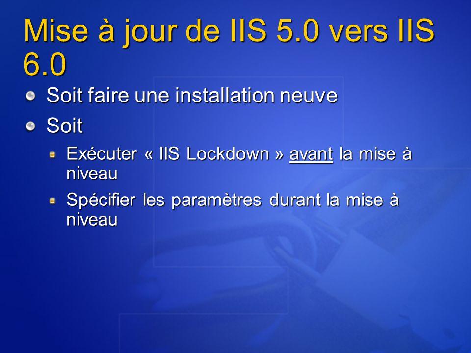 Mise à jour de IIS 5.0 vers IIS 6.0