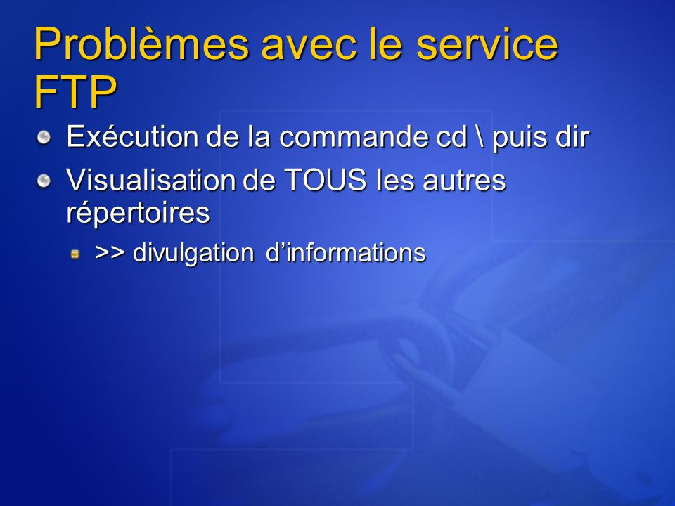 Problèmes avec le service FTP