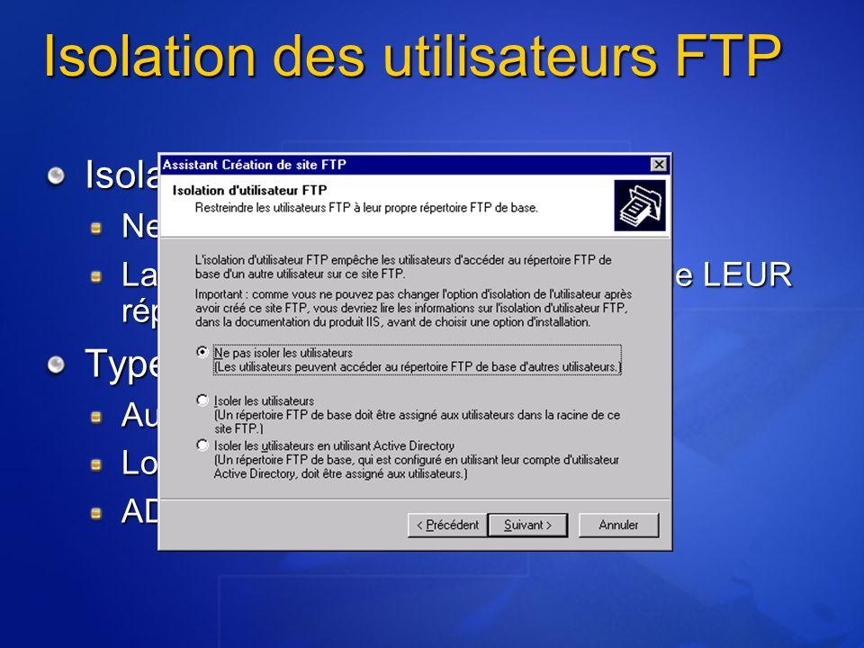 Isolation des utilisateurs FTP