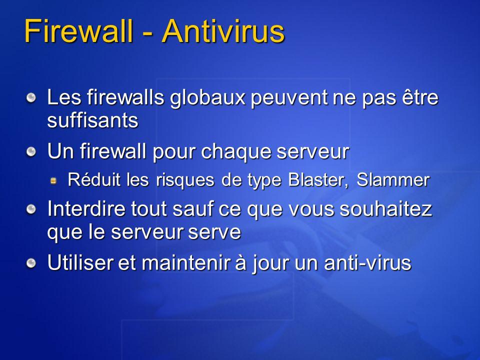 4/6/2017 2:28 PM Firewall - Antivirus. Les firewalls globaux peuvent ne pas être suffisants. Un firewall pour chaque serveur.