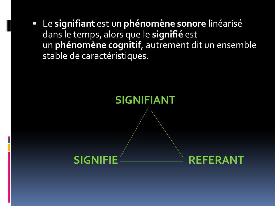 SIGNIFIANT SIGNIFIE REFERANT