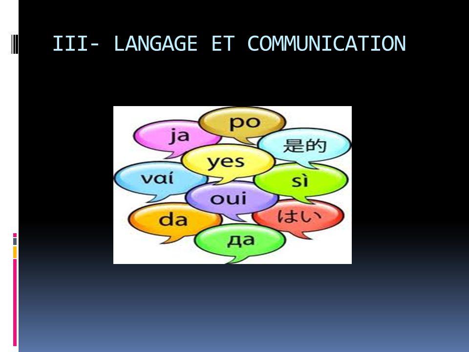 III- LANGAGE ET COMMUNICATION