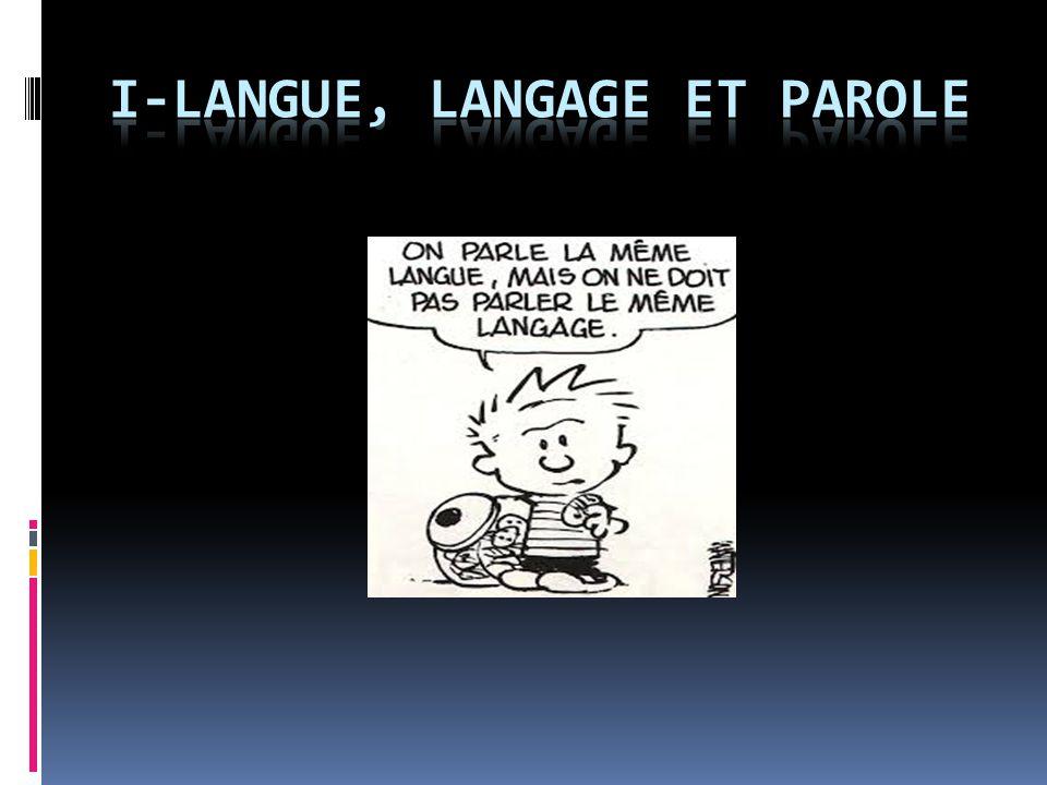I-Langue, langage et parole
