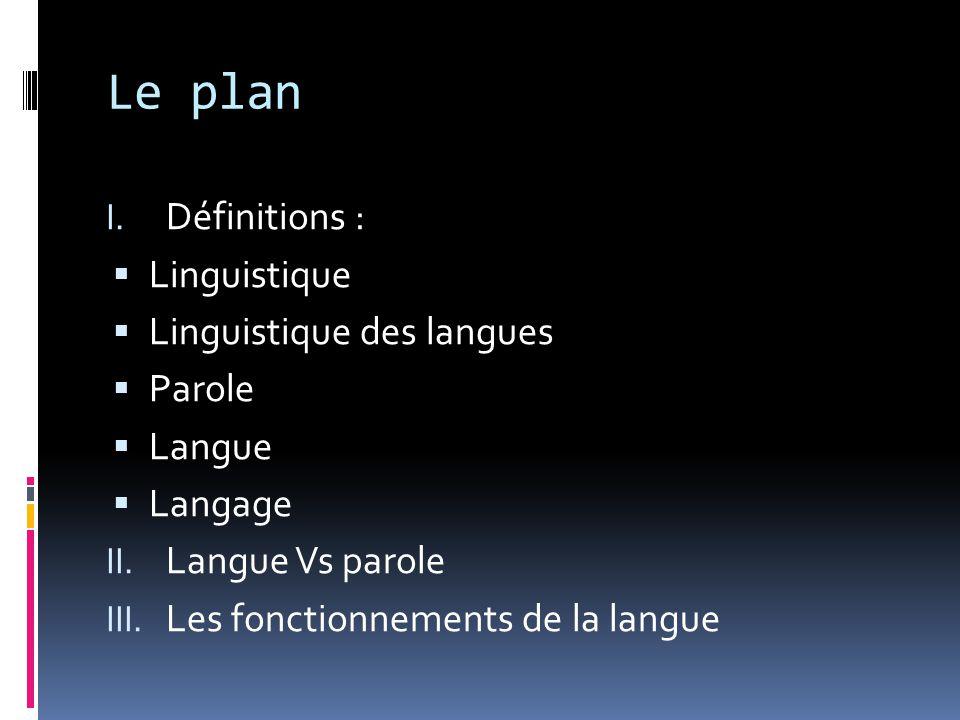 Le plan Définitions : Linguistique Linguistique des langues Parole