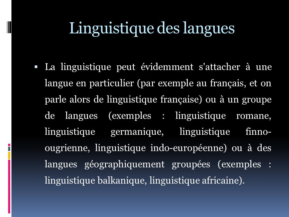 Linguistique des langues