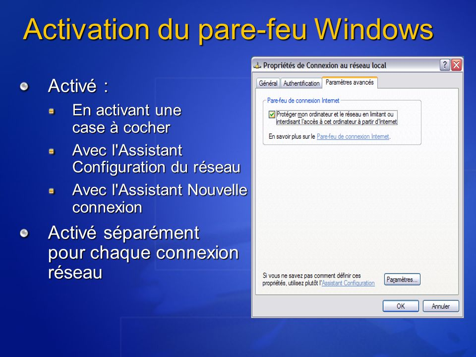 Activation du pare-feu Windows